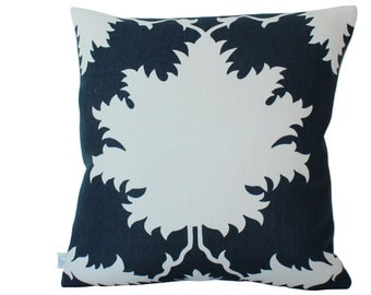 Schumacher Garden of Persia Pillow Cover in Navy Blue