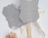 Die cut wedding program elegant fan - Deerfield design grey version