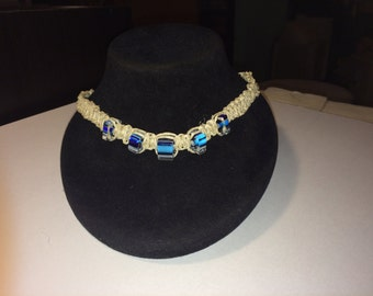 Blue stripped square hemp necklace