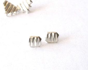 silver earrings stud geometric handmade stud earrings amy kreiling