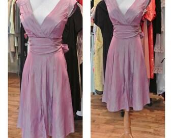 1990s Does 1960s Lavender Taffeta Party Dress Metallic Purple Vintage Taffeta Fit and Flare Midi Cocktail Dress Prom Dress Wedding Guest