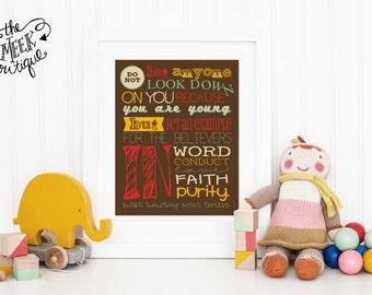 INSTANT Download, Scripture Printable Artwork, 1 Timothy 4:12, No. 96