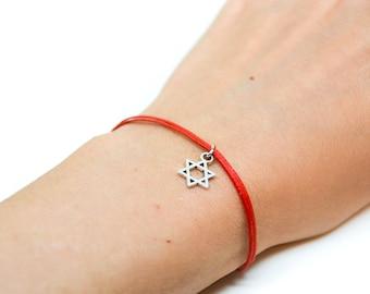 Star of David bracelet, dangle silver star of david, red bracelet for women, Bat Mitzvah gift, Jewish, Hebrew Jewelry from Israel, judaica