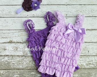 Purple Baby Romper and Baby Headband Newborn Romper and Newborn Headband Petti Romper lace Romper 1st Birthday Outfit Cake Smash Baby Dress