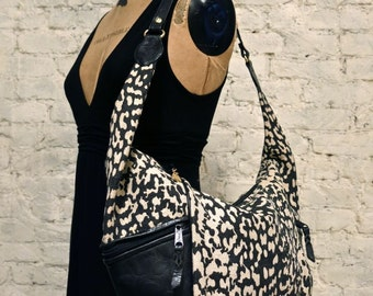 80s Oversized Canvas and Leather Leopard Print Hobo Bag