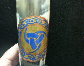 OOAK Viking Drinking Horn Triple Horn of Odin in gold and blue holds 6 oz -- Witch Crafted