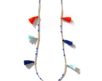 Long Beaded Necklace - Boho Necklace - Extra long Tassel  Necklace - Blue Silver Red Nautical Ethnic Turquoise Necklace - Seed Bead Necklace