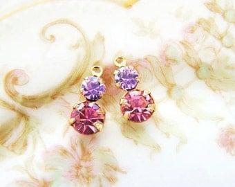 Petite Rhinestone Duo Drops Rose Pink & Violet Amethyst Swarovski Crystal Drops Dangles – 2