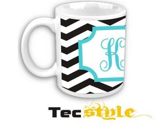 Black Chevron ceramic Coffee Mug with Turquoise Personalized Monogram