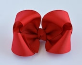 Red Hair Bow, Girls Hair Bows, 4 Inch Hair Bows, Toddler Hairbows, Solid Color Hair Bows, Alligator Clip, Snap Clip, Barrette, 400, HB