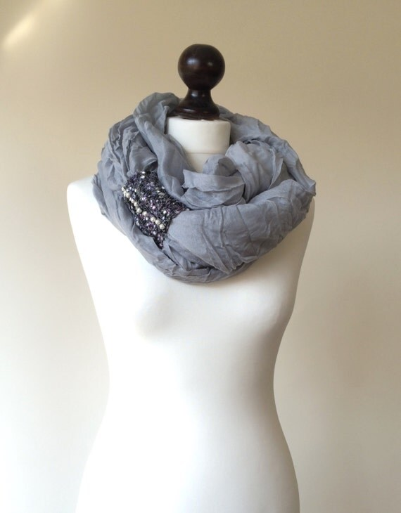 Infinity Scarf, Gray Wrinkled Scarf, Knitted Cuff Embellishment Pearls, Loop,  ReddApple Gift Ideas for Her