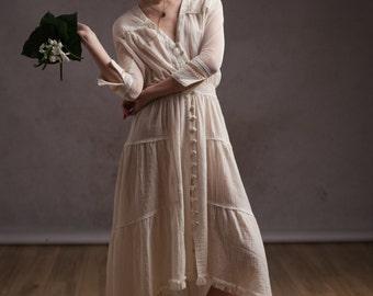 Bohemian wedding dress,Alternative wedding,Boho wedding dress,Beach wedding,Summer maxi dress,Gauzy dress,Bridesmaid dress,Hippie dress