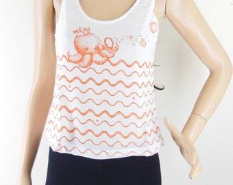 Squid Shirt Octopus T Shirt Teen girl gifts hipster crop top cropped Women Tshirt Crop Top Tank White Tshirt Top Tunic Screen Print Size S