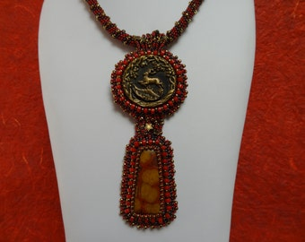 Graceful Leaping Stag, Antique Bronze Button, Morgan Hill Poppy Jasper,Necklace in Reds, Bronze and Deep Brown