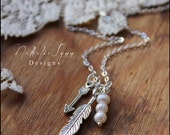 Feather and Arrow Necklace, Feather Necklace, Arrow Necklace, Brave Necklace, Bojo Necklace