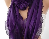 Purple Scarf Ruffle Scarf Rose Scarf Chiffon Scarf Fashion Accessories Gift for Christmas gift