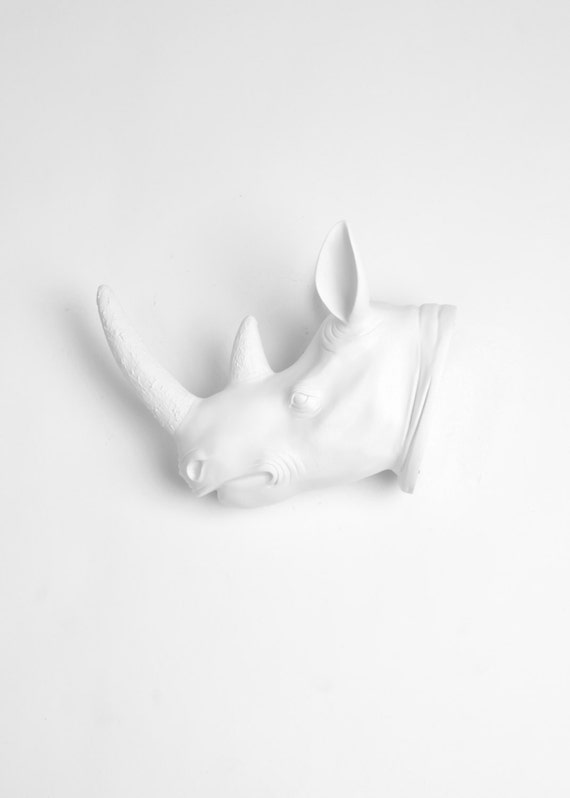 White Rhino Head - The Blakely by White Faux Taxidermy - Resin African Animal Head Wall Art - Chic Rhinoceros Wall Decor in White