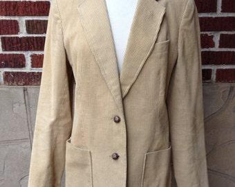 VTG Tan Corduroy Blazer // JCPenney // Womens // Jacket // Outerwear