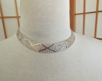 Vintage 80s Sterling Omega Choker Collar Necklace by Milor of Italy