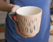 Modern coffee mug - unique handmade decorative textured kitchen pottery, morning coffee mug.