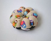 Pincushion OWL FABRIC. Great for a sewing gift - Round cushion for pins. Double sided owls. Quilters gift. what a hoot. pin holder