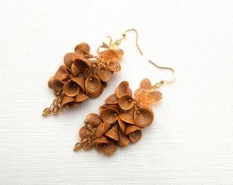 Wedding Earrings, Flower Earrings, Gold Earrings, Dangle Earrings,Butterfly Jewelry, Flower Jewelry,Gift For Her,Wedding Jewelry,Millefiori