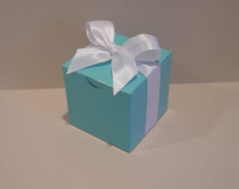 "25 Turquoise Blue 3"" Square Favor Boxes and Ribbon"