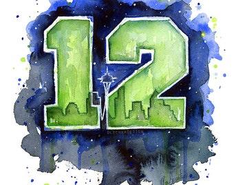 Hawks 12th Man Art, Seattle Watercolor Painting, Skyline, Space Needle, Go Hawks, 12s ART PRINT