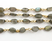 Small Labradorite Ovals on Gold Wire Chain, Appx. 3x5mm Stones, Priced & Sold by the Foot. (GMB/LAB/OV)