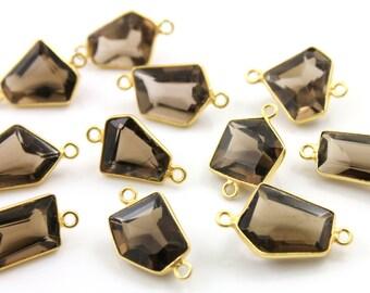 Natural Smokey Topaz Fancy Connectors, Bezeled Gemstones, Gold Vermeil,  ,15X12-10X11mm 1 Piece, (BZC9042/CNT/STZ)