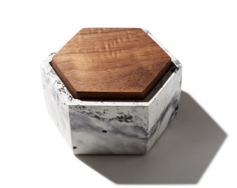 Marbled Hexagon Concrete Box With Solid Walnut Lid Minimalist Modern Home Decor Jewelry