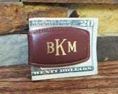 Leather Money Clip - Personalized Magnetic Monogrammed Money Clip - Groomsmen Gift