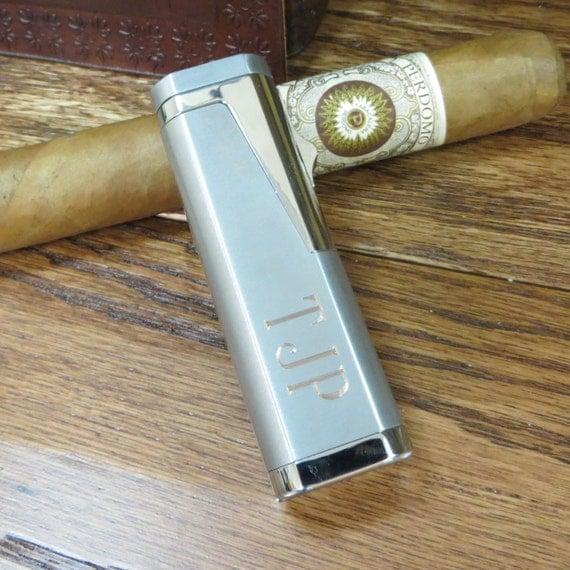 Silver Butane Cigar Lighter- Personalized- Mens Gift- Groomsmen