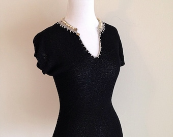 Pretty Vintage Black Beaded Mid Century 1950s Blouse Top Shirt