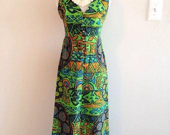 Vintage Tiki Time Crazy Tapa Print Hawaiian Dress