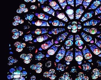 Paris photograph, Notre Dame Cathedral, architecture, Paris art, geometric, Paris decor, square photo print - Rose Window