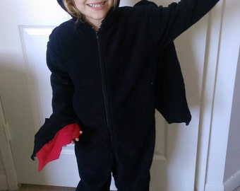 Toothless the Dragon onesie age 7-8 up to 11-12 - Night fury onesie - Toothless costume - How to train your dragon costume
