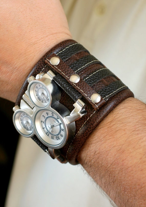 mens wrist leather bracelet steunk gifts by