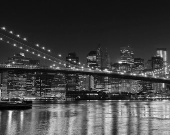 Black and White NYC Photography Brooklyn Bridge Panorama New York City Skyline Large Wall Art City Lights Manhattan at Night Home Decor