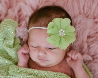 Baby Headbands, Mint Green headband, Newborn Headband, Newborn Headbands,  Headbands, newborn photo prop, Spring flower headband, flower bow