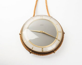 Vintage Wall Clock Ancer Working Retro Hanging Clock / Wall Home Decor / Gold Grey / Mid Century Clock
