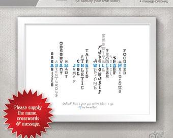 Personalized Graduation Gift / Gift for Son / Gift for Grandson / Custom Design Print / Dorm Room Decor // 5x7 / 8x10