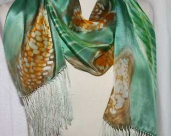 """Wearable Art Pure Silk with Fringe Scarf OOAK Hand Painted 14""""x72"""" PINECONES"""
