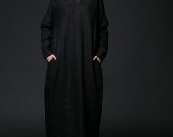 Black Maxi Dress - Casual Everyday Long Loose-Fitting Plus Size Linen Dress with Long Sleeves & Pockets C509