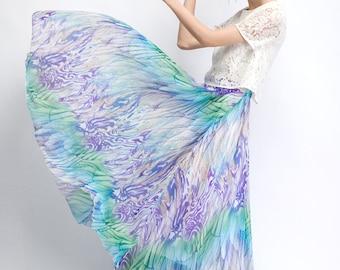Maxi chiffon skirt,print skirt,women's long skirt,summer skirt  (C482)