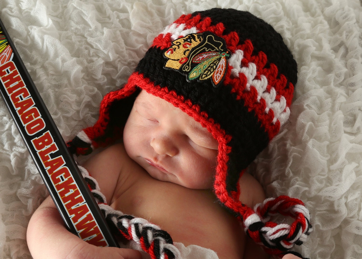 Blackhawks Hat With Feathers Hat With Blackhawks Patch