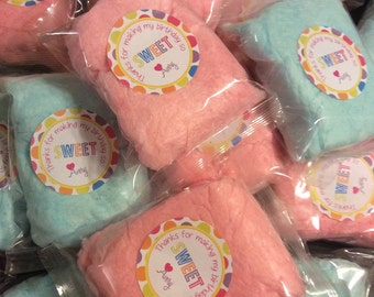 Sweet Personalized Cotton Candy Favors - Set of 24 - Birthday Thank You Sweet Table - Dessert Table - Polka Dot - Candy Table Buffet