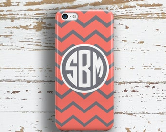 Personalized iPhone 6s case, Preppy Iphone 5c case, Chevron Iphone 5s case, Girl's Iphone 6 Plus case, Gifts for girls, Coral gray  (9912)