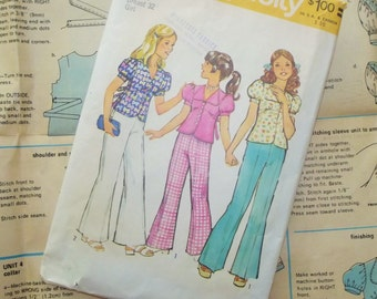1970's Girl Pattern, Size 14, Bell Bottoms, Girl's Top and Pants, Pattern 6308, Simplicity