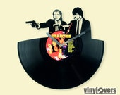 pulp fiction movie Vincent Jules handmade wall clock from vinyl record afro unique